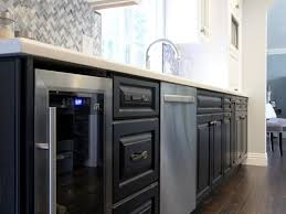 Kitchen Wine Cabinets Fancy Built In Wine Fridge With Grey Color Kitchen Cabinets And