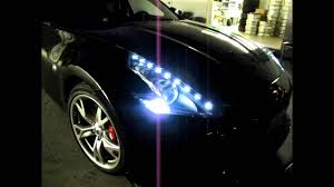 best led daytime running lights nissan 370z custom led drl headlight by jlc lighting youtube