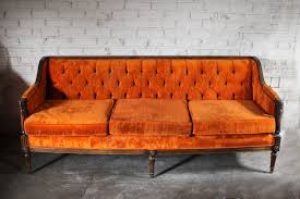sofas and couches for sale vintage orange velvet tufted sofa couch by thefeelingofhome