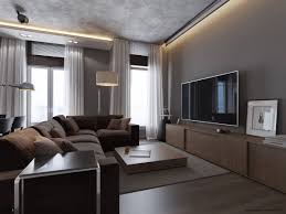 grey living room walls brown furniture high window window glass