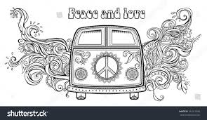 hippie volkswagen drawing hippie vintage car mini van ornamental stock vector 331317998