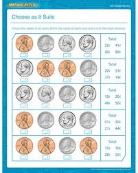 choose as it suits u2013 free printable money math worksheet for 4th