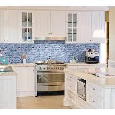 Blue Glass Kitchen Backsplash Blue Glass Mosaic Wall Tiles Gray Marble Tile Kitchen