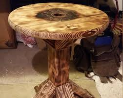 Rustic Round End Table Celtic Furniture Etsy