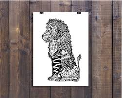 art black and white art pen and ink lion signed 5 x 7