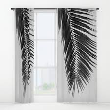 And White Curtains Palm Leaf Black White I Window Curtains By Paperpixelprints