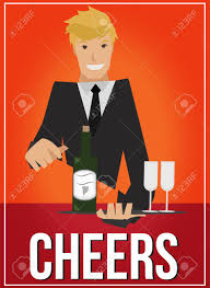 cartoon wine glass cheers art deco poster with handsome waiter serving wine and glasses