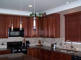 Modern Wood Kitchen Cabinets Kitchen Brown Kitchen Cabinet White Hanging Lamp Brown Kitchen