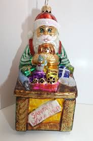 christopher radko santa s workshop santa and toys large glass