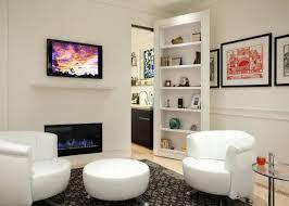 modern white family room decor with unusual bookcases door idea