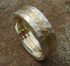 mens hammered wedding bands men s hammered silver gold wedding ring love2have in the uk