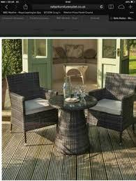 B Q Bistro Chairs Comoro Rattan Effect Bistro Set Grey Includes Cushions