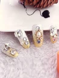 imagenes de uñas acrilicas con pedreria uñas acrilicas beige con pedrería de 24 piezas milanoo com