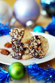 chocolate dipped pecan shortbread cookies