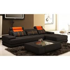 canapé d angle orange canapé d angle moderne cuir noir et orange alix ii achat vente