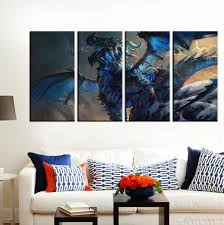 unframed the elder scrolls v skyrim blue dragon hd print on canvas