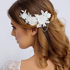hair pieces for wedding lace bridal hair with rhinestone lace wedding hair