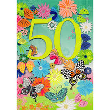bright butterflies 50th birthday card sc614