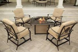 Patio Table With Firepit by Classic Hanover 5 Piece Cast Tabletop Patio Furniture Sets With