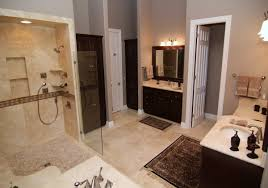 bathroom simple and neat design ideas using travertine tile
