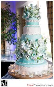 tiffany blue wedding cake with white vintage lace silver pearl