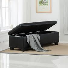 Sofa Ottoman Black Faux Leather Storage Foot Rest Sofa Ottoman Bench Footrest