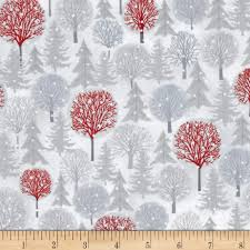 holiday cheer trees white grey from fabricdotcom designed by jan