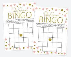 baby shower bingo blush and gold hearts baby shower bingo baby shower