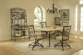 wrought iron dining room furniture brown varnished mahogany dining chair with velvet upholstered