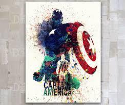 Captain America Decor Captain America Marvel Comics Aquarelle Numérique Affiche Poster