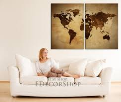 World Map Canvas Large Wall Art Vintage World Map Canvas Print 2 Panel Canvas Art