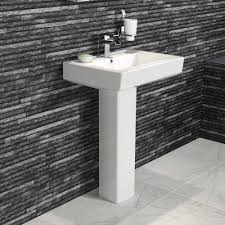 Modern Basins Bathrooms by Modern Ceramic Square Basin And Pedestal Single Tap Hole Bathroom Sink