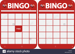 two different kind of red blank bingo cards for cut out stock