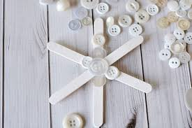 popsicle stick button snowflake tree ornament