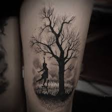 big 3d forest tree design for sleeve to wrist