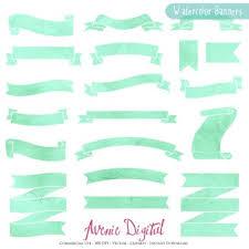 mint green ribbon mint watercolor ribbon banners clip green ribbons clipart