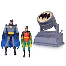 batman tas batman and robin figures with bat signal dc