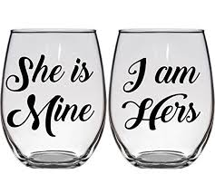 wedding gift hers wedding gift wine glasses she is mine i am