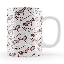 caticorn pattern mug cute cat unicorn gift unique rainbow kawaii