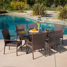 Christopher Knight Patio Furniture Reviews Littleton Rectangular Outdoor Cast And Wicker 7 Piece Set By