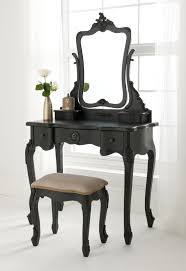 Black Vanity Table With Mirror Black Vanity Set Completing Cozy Interior Space Traba Homes