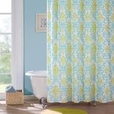 Blue Damask Shower Curtain Teal Blue Lime Green White Damask Shower Curtain Fabric Bathroom