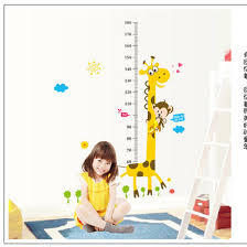 kids height 180cm chart wall sticker home decor cartoon giraffe