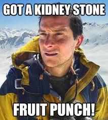 Kidney Stones Meme - got a kidney stone fruit punch bear grylls quickmeme