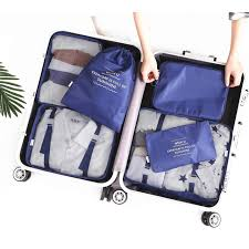 2017 6pcs set men and women luggage travel bags d pocket packing