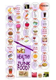 english worksheet boardgame healthy or junk food ved