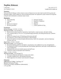 Career Objective For Resume For Bank Jobs by Bank Manager Resume Berathen Com