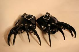 black claws pair handmade small mini black leather black claw gloves claws