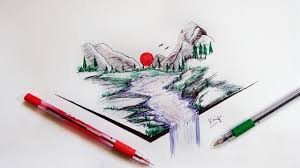 quick pen sketch scenery using ballpoint pen youtube