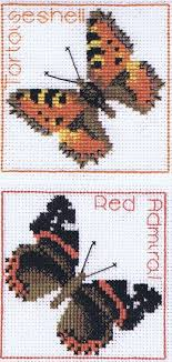 tortoiseshell admiral butterflies coaster cross stitch kit